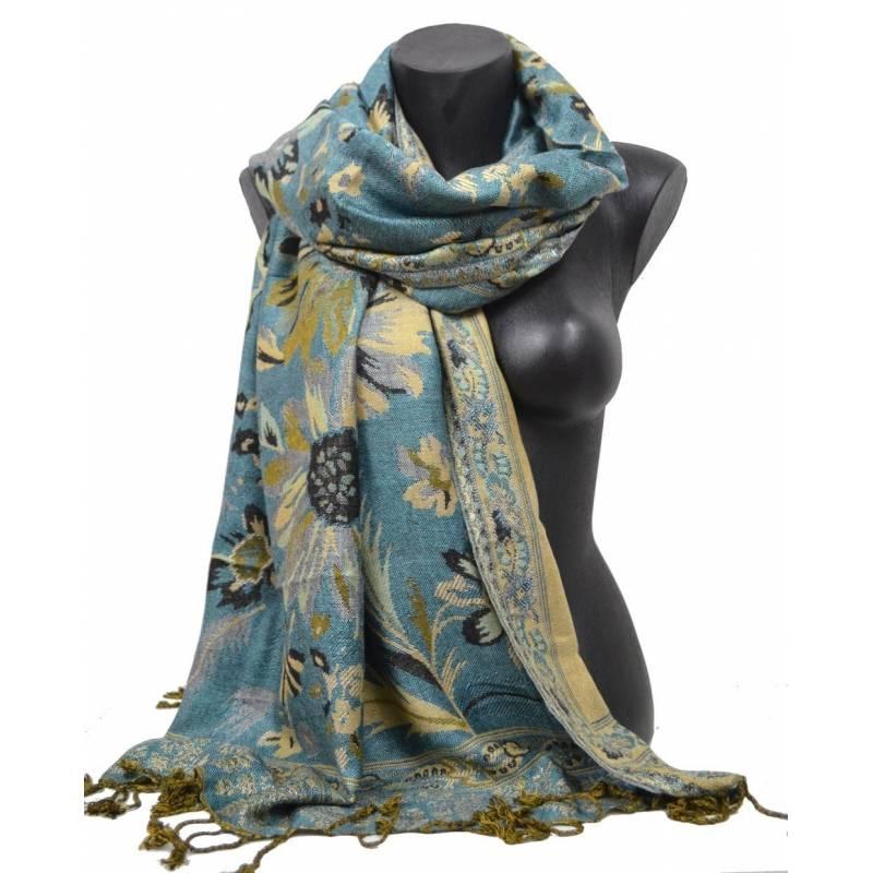 Pashmina Jamawar viscose - bleu à fleur