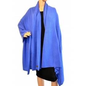 Grand châle en cachemire bleu électrique