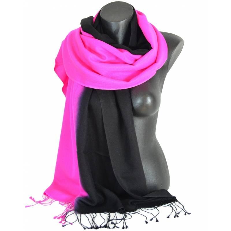Etole en cachemire et soie rose et noire