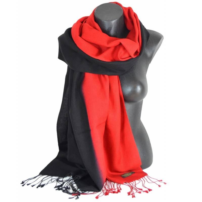 Etole en cachemire et soie rouge et noire