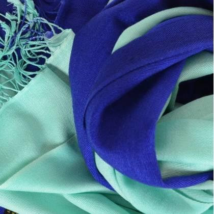 Etole en cachemire et soie turquoise et marine