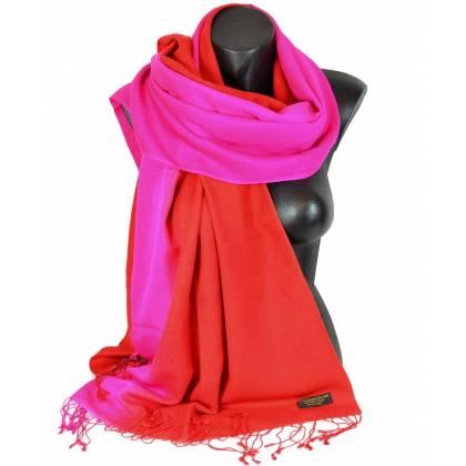 Etole en cachemire et soie rouge et rose