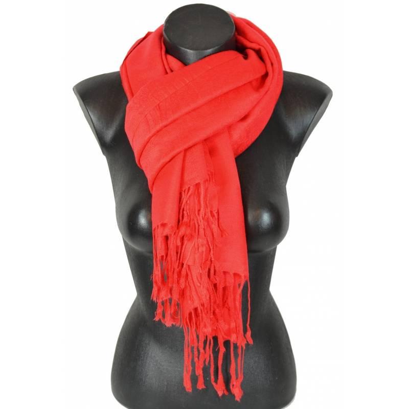 Pashmina paisley uni rouge