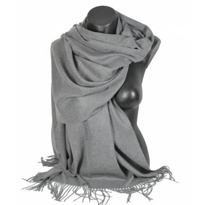 Pashmina cachemire-laine gris