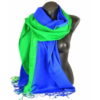Etole en cachemire et soie bleue et verte