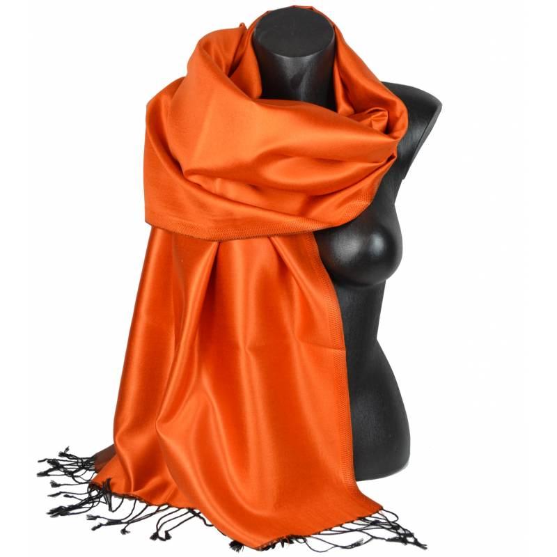 Etole en soie indienne orange et noire
