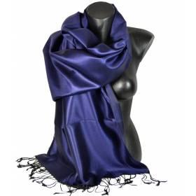 Etole en soie indienne bleu nuit et noire