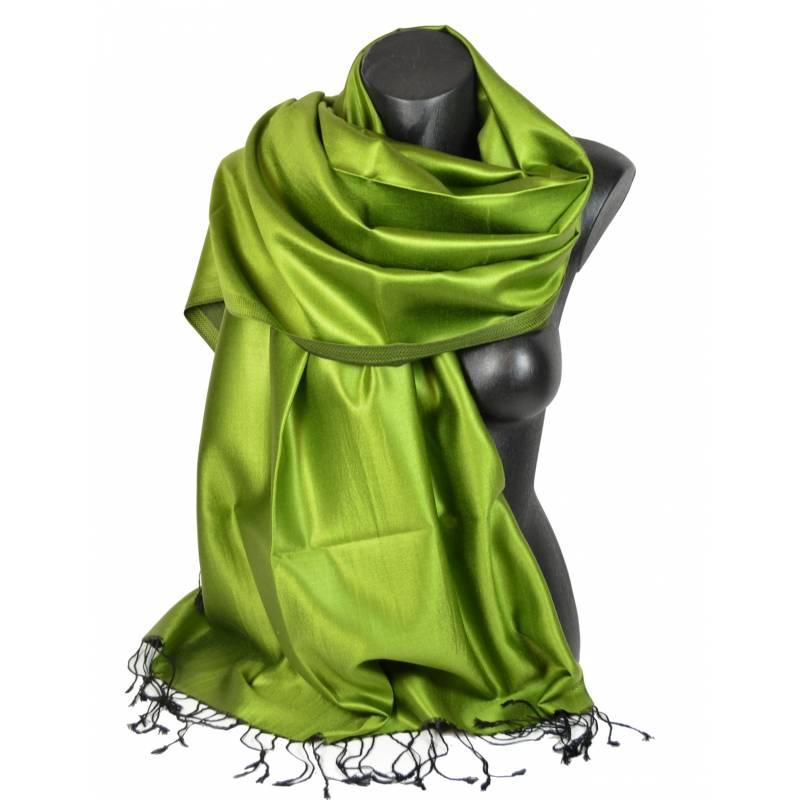 Etole en soie indienne vert avocat et noire 386cba06a8f
