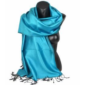 Etole en soie indienne turquoise et noire