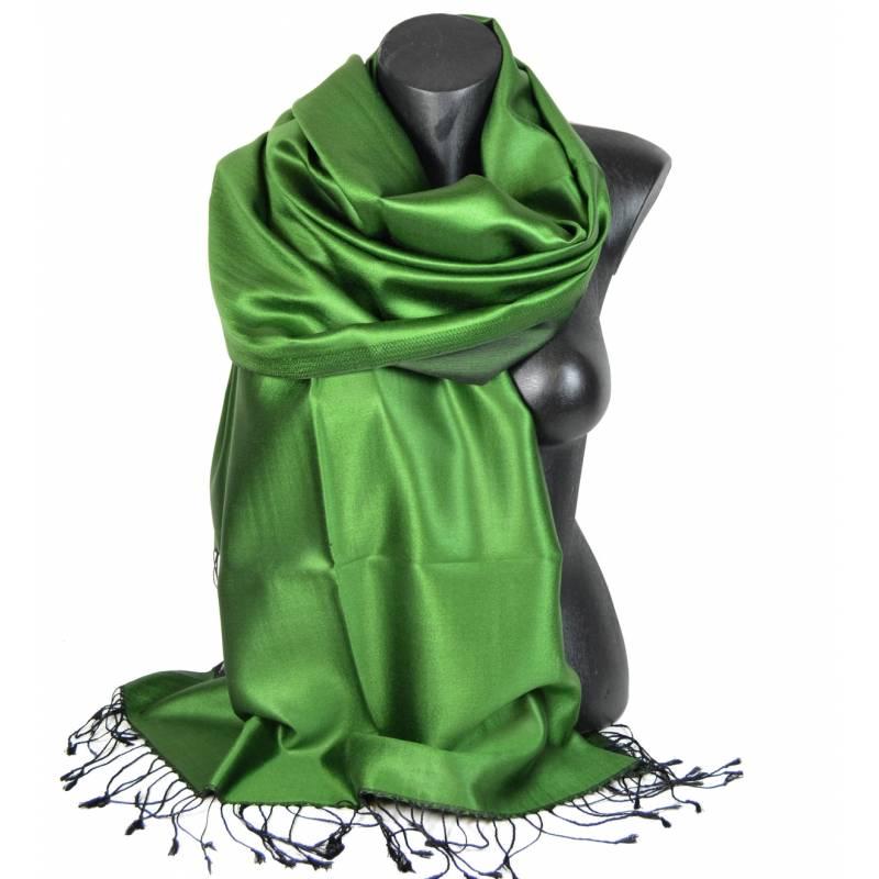 Etole en soie indienne vert prairie et noire