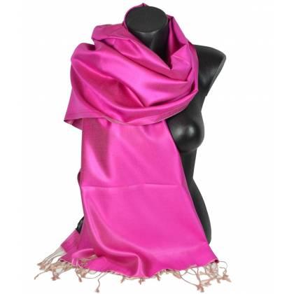 Etole en soie indienne rose et beige