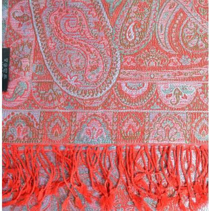 Pashmina soie jacquard rouge et bleu