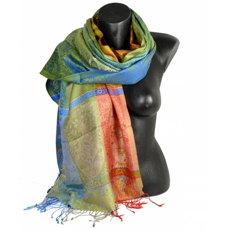 Pashmina soie jacquard multicolore