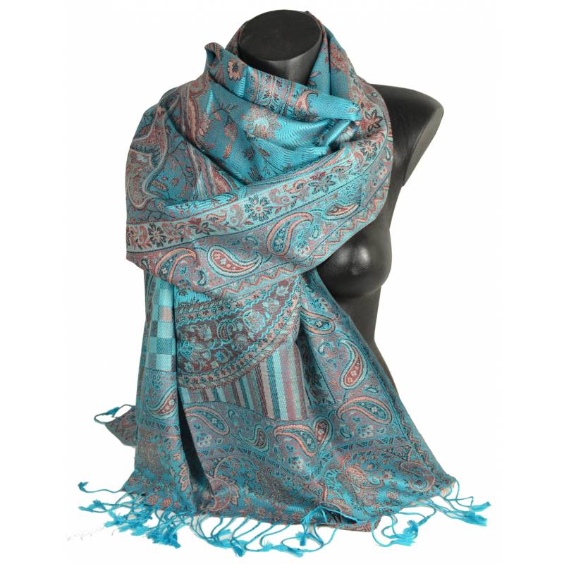 Pashmina soie jacquard turquoise