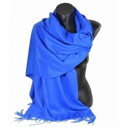 Pashmina cachemire-laine bleu