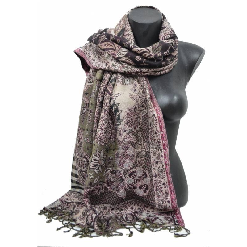 Pashmina Jamawar viscose - noir, violet, beige