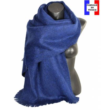 Pashmina mohair bleu marine fabriqué en France