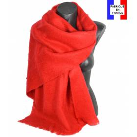 Pashmina mohair rouge fabriqué en France