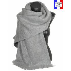 Pashmina mohair gris clair fabriqué en France