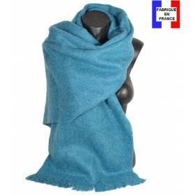 Pashmina mohair bleu fabriqué en France
