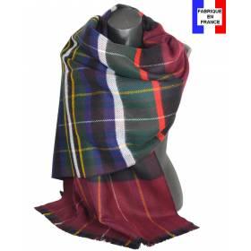 Pashmina écossais bordeaux fabriqué en France