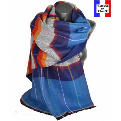 Pashmina écossais bleu fabriqué en France