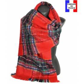Pashmina mohair écossais rouge fabriqué en France
