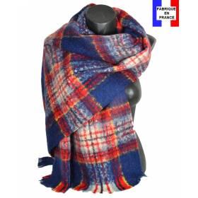Pashmina mohair écossais bleu fabriqué en France