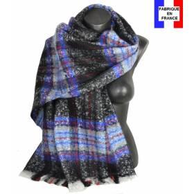 Pashmina mohair écossais noir fabriqué en France
