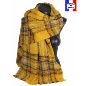 Pashmina mohair écossais jaune fabriqué en France