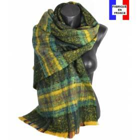 Pashmina mohair écossais vert fabriqué en France
