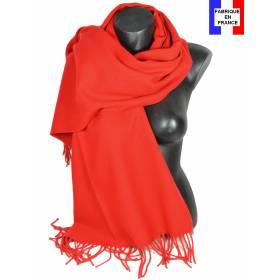 Pashmina acrylique uni rouge fabriqué en France