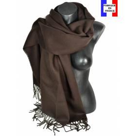 Pashmina acrylique uni marron fabriqué en France