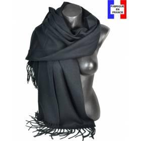 Pashmina acrylique uni noir fabriqué en France