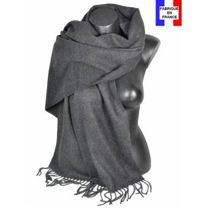 Pashmina acrylique uni gris foncé fabriqué en France