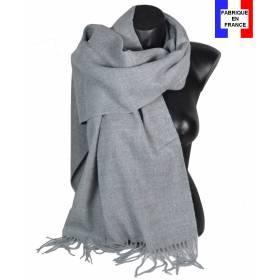 Pashmina acrylique uni gris fabriqué en France