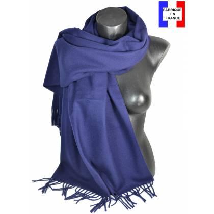 Pashmina laine uni bleu marine fabriqué en France