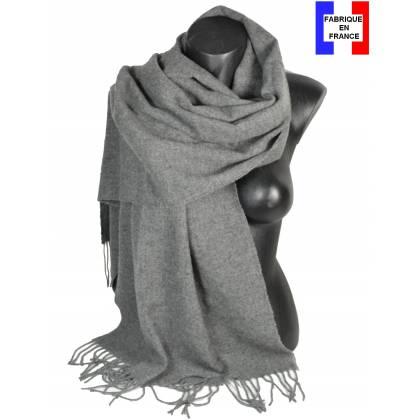 Pashmina laine uni gris fabriqué en France