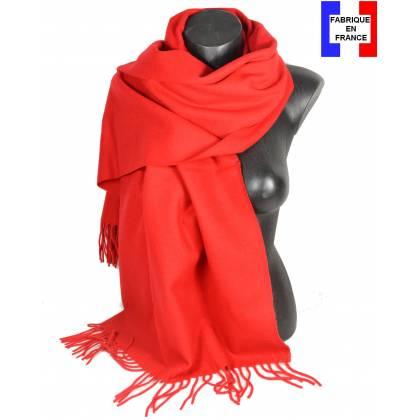 Pashmina laine uni rouge fabriqué en France