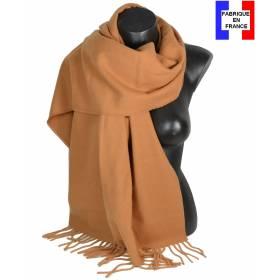 Pashmina laine uni camel fabriqué en France