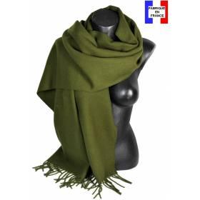 Pashmina laine uni kaki fabriqué en France
