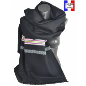 Pashmina noir et gris fabriqué en France