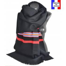 Pashmina noir et rouge fabriqué en France