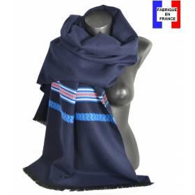 Pashmina bleu fabriqué en France