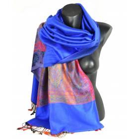 Pashmina indien bleu electrique