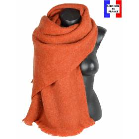 Pashmina mohair orange fabriqué en France