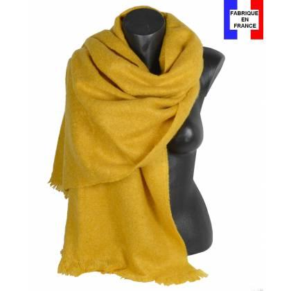 Pashmina mohair jaune fabriqué en France