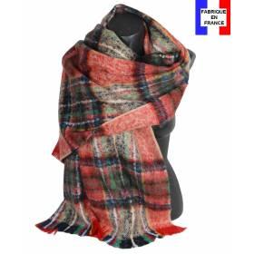Pashmina mohair écossais rouge et vert fabriqué en France