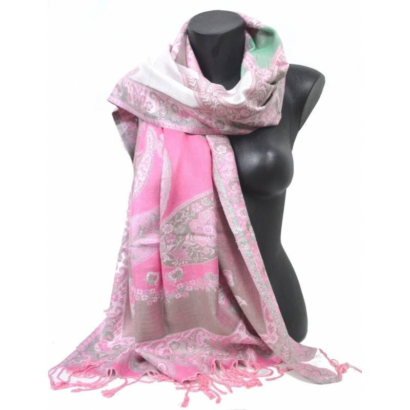 Pashmina Jamawar viscose - rose, vert, blanc