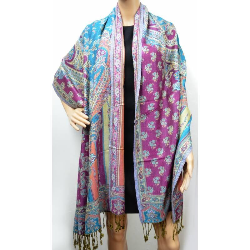 Pashmina Jamawar viscose - violet, bleu, beige